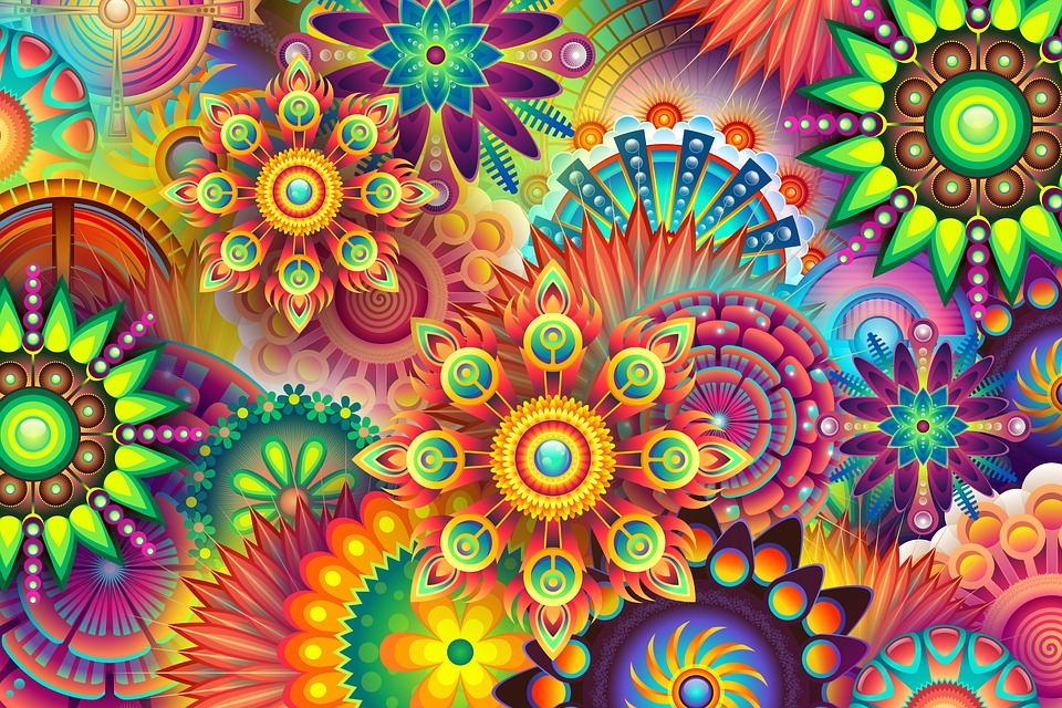 colorful abstract background, psychedelic, colorful