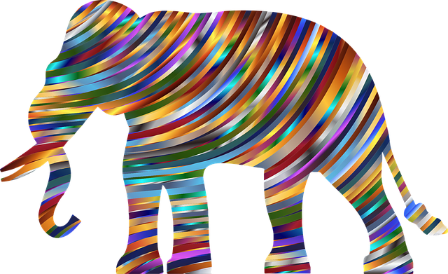 elephant pachyderm animal africa asia mammal shiny colorful psychedelic prismatic chromatic abstract geometric art decorative ornamental waves wavy elephant elephant elephant elephant elephant