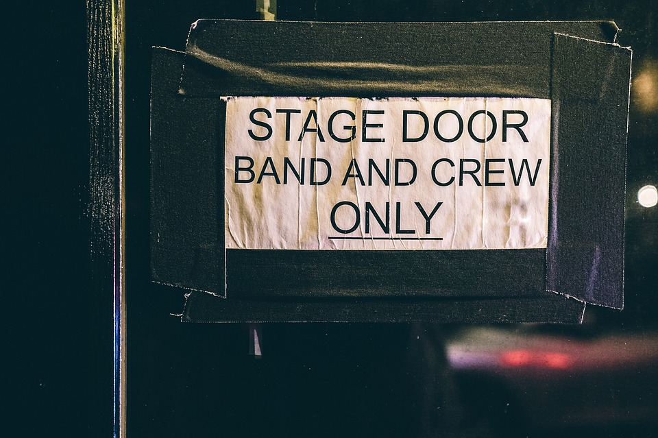 sign door sign stage door band and crew only entrance stage door theatre entertainment music musician band group play theater show perform performance performing arts theater stage announcement restricted entering stage door stage stage stage theatre theatre theatre theatre theatre music band theater theater performing arts